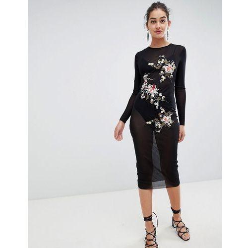 mesh midi dress with floral embroidery - black marki Glamorous