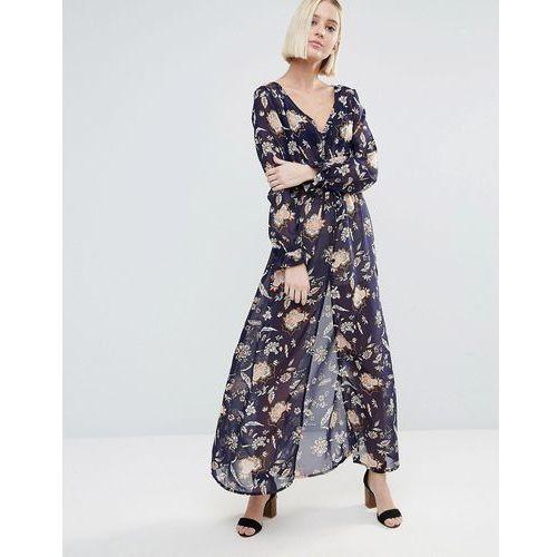 Brave Soul Long Sleeve Printed Dress With Slit - Multi