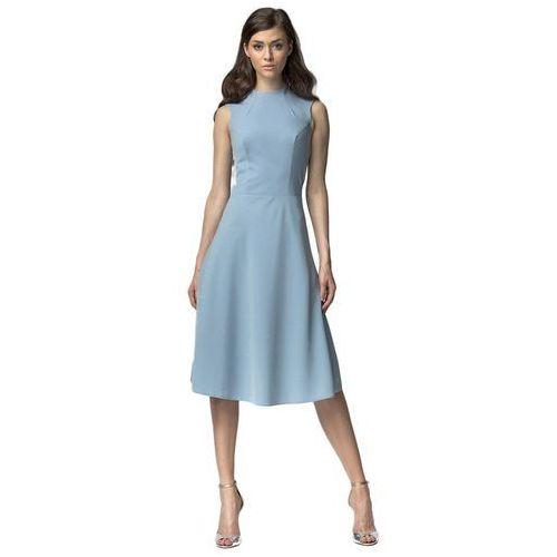 Sukienka MIDI - niebieski - S62, kolor niebieski