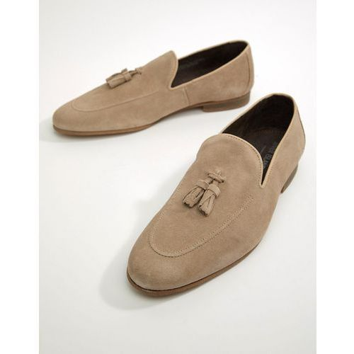 River island suede loafer with tassel in sand - stone