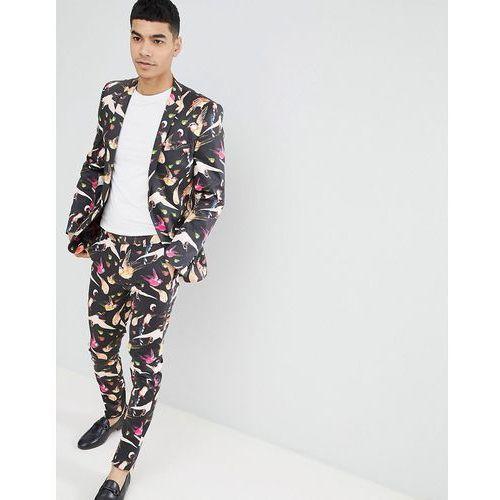 ca3e611616233 Info · design super skinny suit jacket in cotton bird print - black marki  Asos