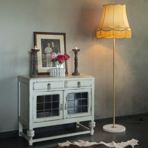 Lampa podłogowa Kaso mosiądz z kloszem Granny 45 cm złoty