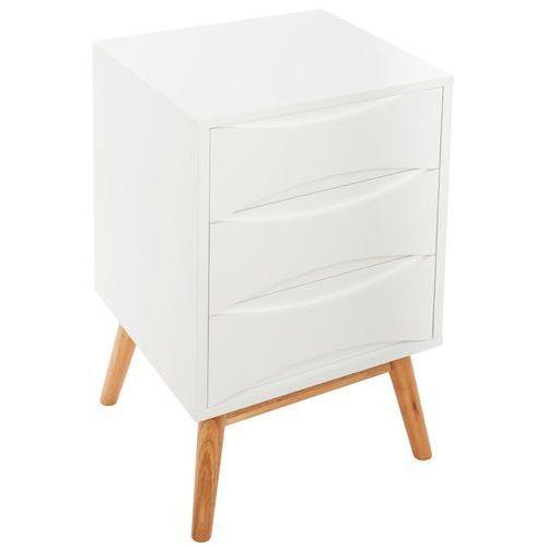 Atmosphera créateur d'intérieur Szafka nocna aban, 3 pojemne białe szuflady, materiał mdf w kolorze białym, 4 drewniane nóżki, wymiary 61 x 35 x 37 cm