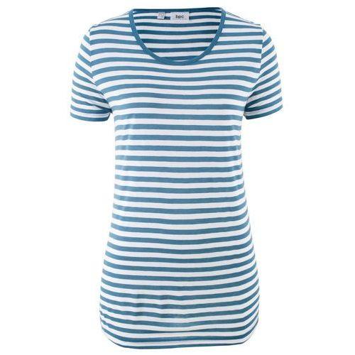Shirt lniany bonprix niebieski dżins - biały w paski, w 8 rozmiarach