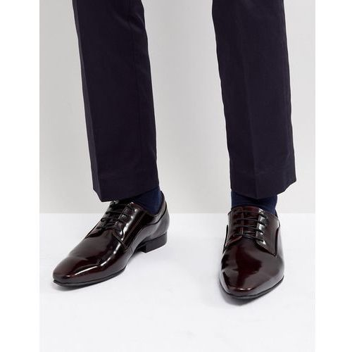 Dune lace up derby shoes in burgundy high shine - red