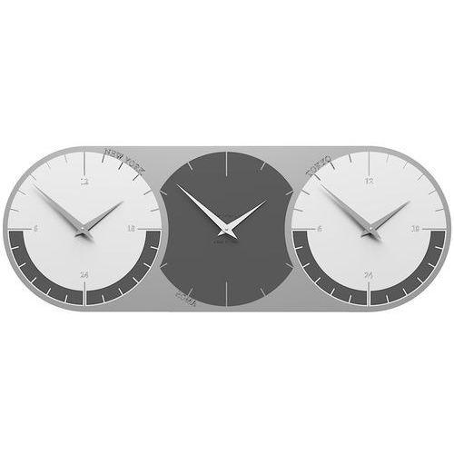 Zegar ścienny - 3 strefy czasowe world clock szary / biały (12-010-3) marki Calleadesign