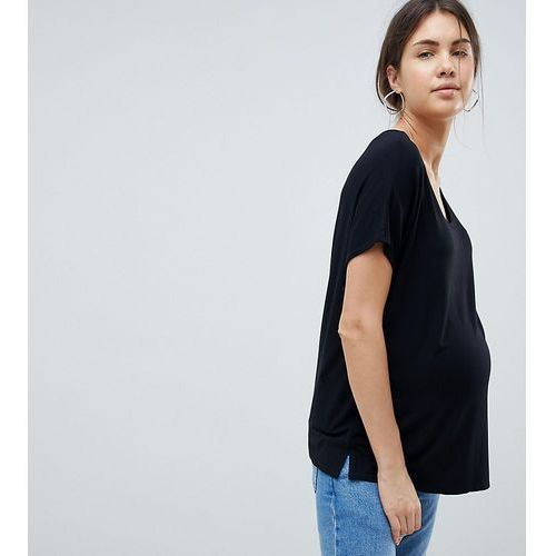 Asos design maternity t-shirt with drapey batwing sleeve in black - black marki Asos maternity