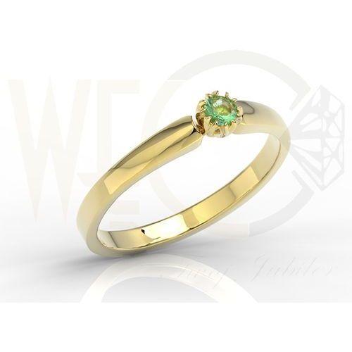 Pierścionek zaręczynowy z żółtego złota ze szmaragdem bp-2110z marki Węc - twój jubiler