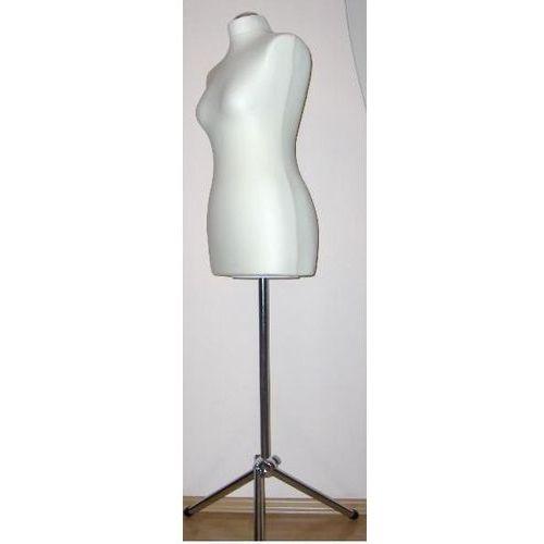 Manekin krawiecki - tors kobiecy krótki ecru - rozmiar 38 na metalowym trójnogu., 00017