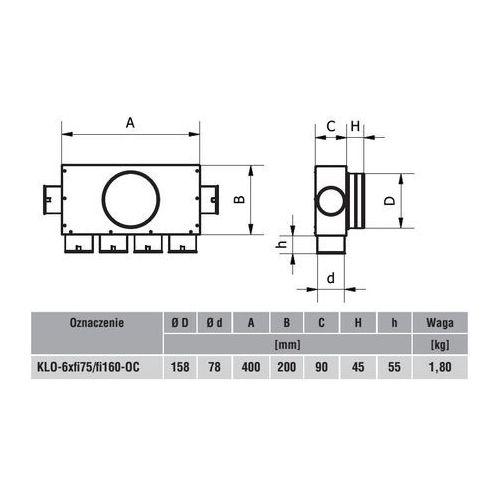 System rozdzielaczowy rekuperacji Skrzynka rozdzielcza 6x75/160