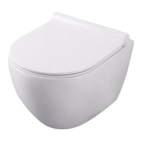 Miska WC wisząca Velia bezkołnierzowa z deską wolnoopadającą z duroplastu, ARS-0301-0
