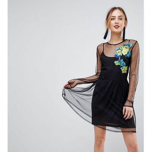 long sleeve embroidered dobby mesh skater dress - black marki Asos tall