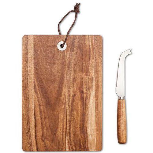 Zeller Deska z nożem do krojenia i serwowania sera, drewniane akcesorium kuchenne - 24,5 x 17 cm,
