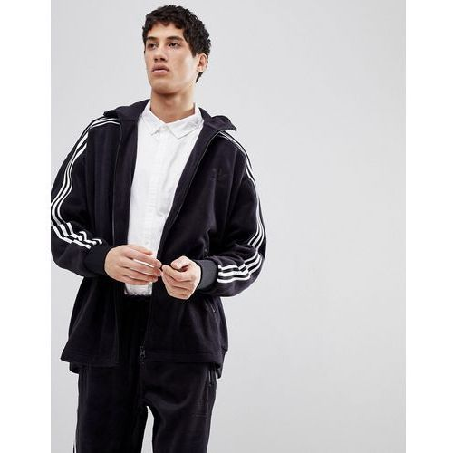 Adidas originals adicolor fleece track jacket in oversized fit in black cy3541 - black