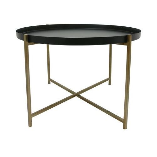 Hk living stolik metalowy z mosiężną ramą i czarnym zdejmowanym blatem, rozmiar l mta2810