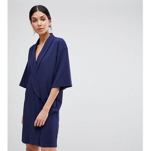 ASOS DESIGN Tall oversized tux dress - Navy, kolor niebieski