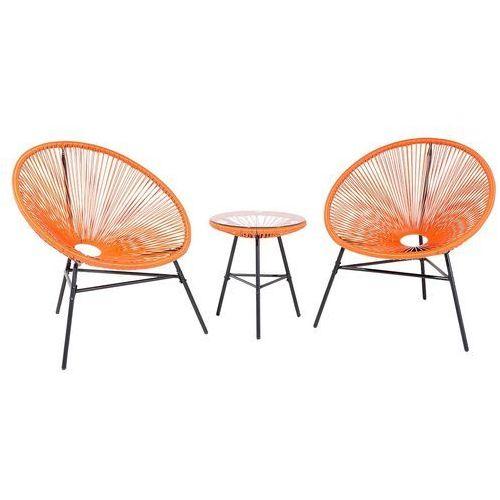 Meble rattanowe stół z 2 krzesłami pomarańczowe ACAPULCO (7081451068071)