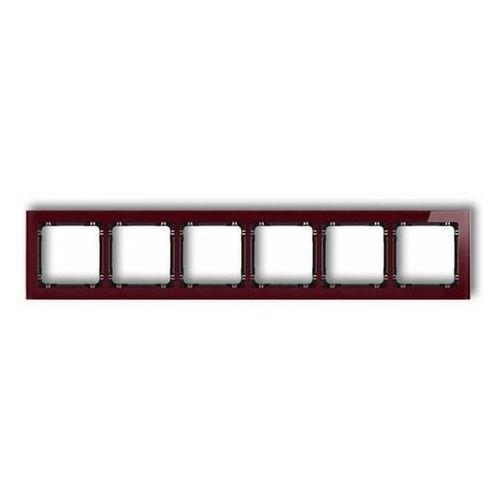 Deco ramka uniwersalna sześciokrotna - efekt szkła (ramka: bordowa spód: czarny) bordowy 14-12-drs-6 marki Karlik elektrotechnik sp. z o.o.