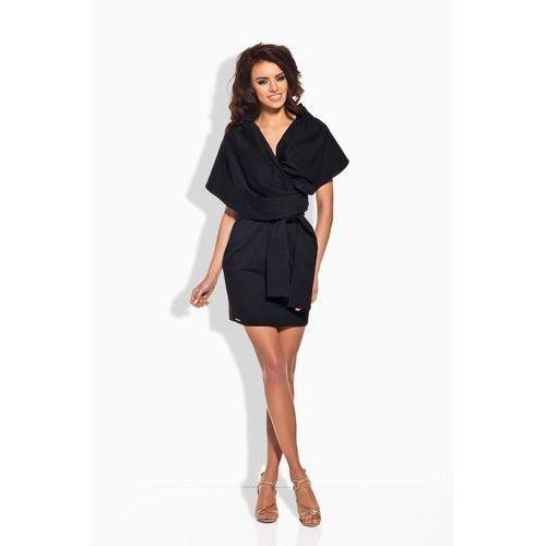 Czarna szlafrokowa sukienka mini z szerokim kołnierzem, Lemoniade, 36-40