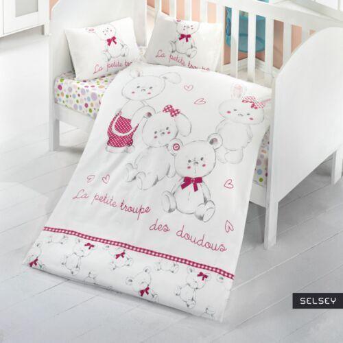 SELSEY Dziecięca pościel do łóżeczka La Petite Troupe 100x150 cm z dwiema poszewkami na poduszkę 35x45 cm i z prześcieradłem (5903025284736)