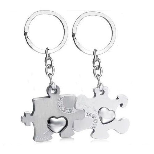 Bk913 brelok do kluczy dla zakochanych puzzle z grawerem marki Mak-biżuteria