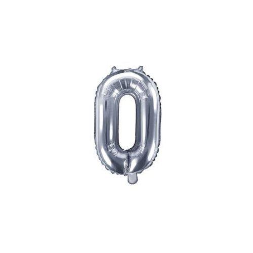 Balon foliowy cyfra 0 srebrna - 35 cm marki Party deco
