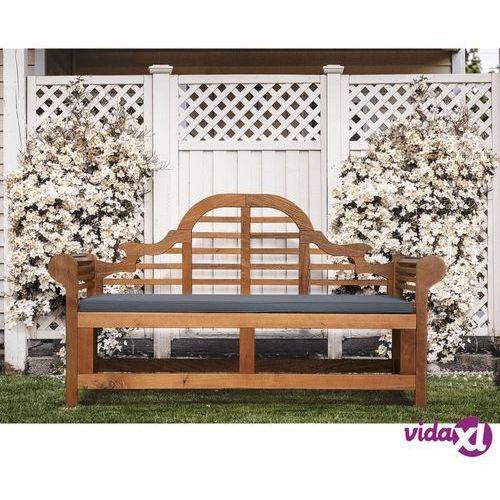 Beliani Ławka ogrodowa drewniana 180 cm poducha grafitowa JAVA Marlboro