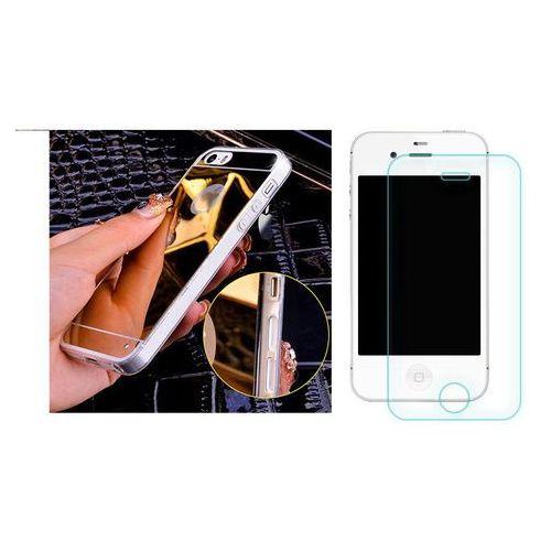 Zestaw | Slim Mirror Case Złoty + Szkło ochronne Perfect Glass | Etui dla Apple iPhone 4 / 4S