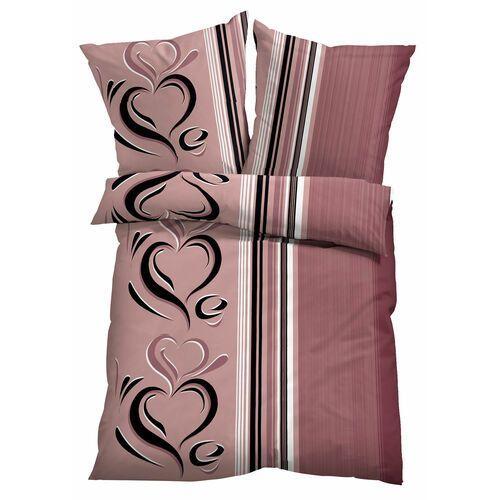 Pościel w serca bonprix stary jasnoróżowy, kolor różowy