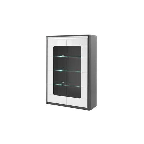 Witryna PERCEPTION – lampki LED – 2-drzwiowa – kolor szary i biały