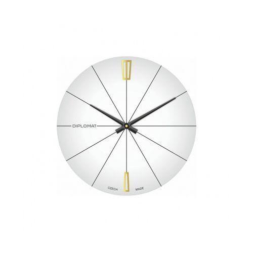 Szklany zegar ścienny, biały, kolor biały