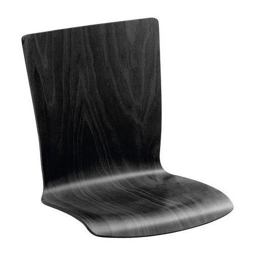 Krzesło z siedziskiem z drewna, opak. 2 szt., buk czarny, prostokątne, z obiciem