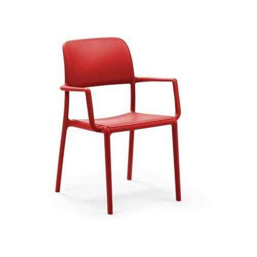 Krzesło Riva z podłokietnikami czerwone, kolor czerwony
