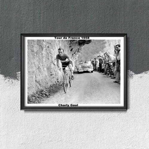 Plakat w stylu retro plakat w stylu retro tour de france fotografia charly gaul marki Vintageposteria.pl