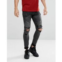 New Look Skinny Biker Jeans With Rips In Black Wash - Black, jeansy