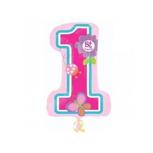 Balon foliowy cyferka różowy na roczek birthday girl motylki - 48 x 71 cm - 1 szt. marki Amscan