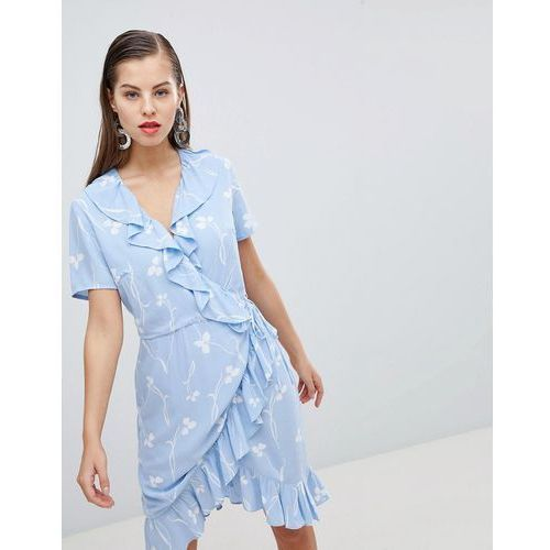 clover print mini wrap dress in blue - blue, Y.a.s, 34-42