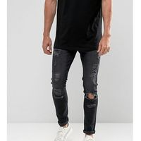 Brooklyn Supply Co Skinny Fit Jeans Washed Black Rip & Repair - Black, kolor czarny