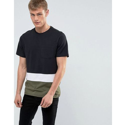 colour block t-shirt in black and green - black marki New look