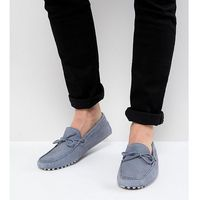 ASOS DESIGN Wide Fit Driving Shoes In Blue Suede With Tie Front - Blue