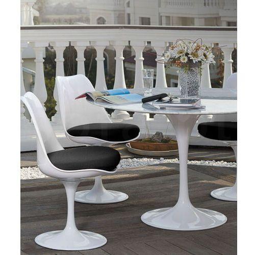Sofa.pl Krzesło tulip białe z szarą poduszką - abs, podstawa metalowa