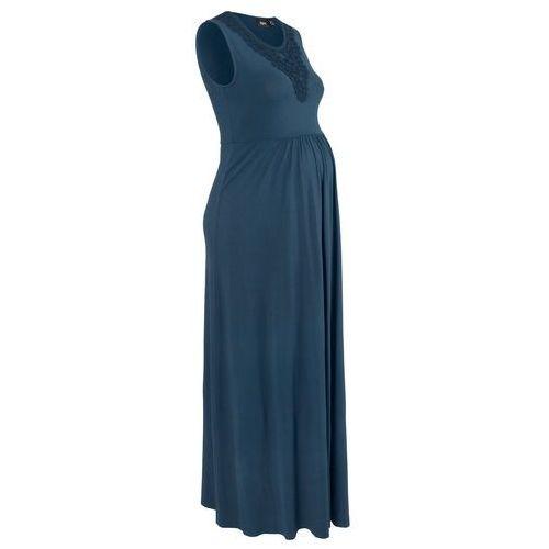Sukienka ciążowa shirtowa, długa ciemnoniebieski marki Bonprix
