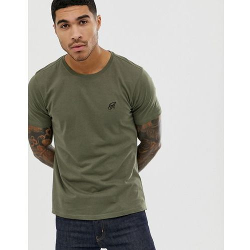 muscle fit stretch long line curved hem logo t-shirt - green marki Another influence