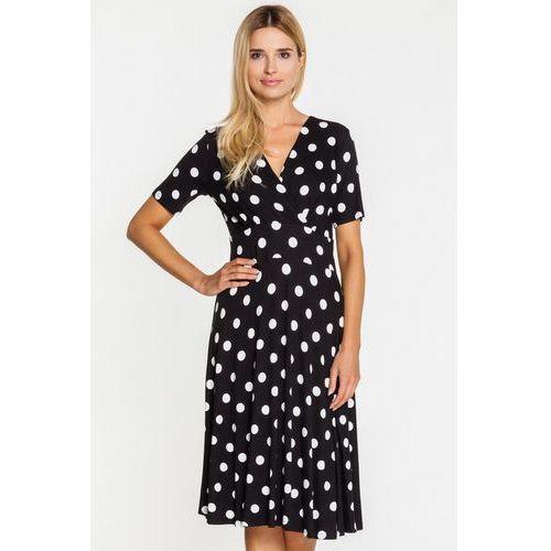 Kopertowa sukienka w groszki - Bialcon, kolor czarny