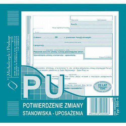 Potwierdzenie zmiany stanowiska pu michalczyk&prokop 560-4 - 2/3a5 (oryginał+kopia) marki Michalczyk i prokop