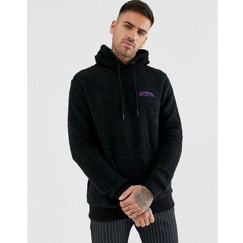 Bershka fleece hoodie in black with reflected slogan - Black