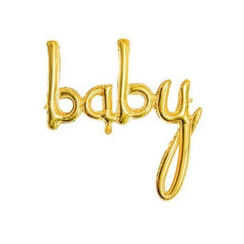 Balon foliowy złoty napis Baby - 73,5 x 75,5 cm (5900779109216)
