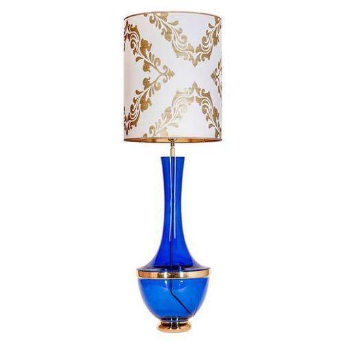 Stojąca LAMPA stołowa TROYA L232271319 4Concepts sypialniana LAMPKA abażurowa vintage biała niebieska (5901688145753)