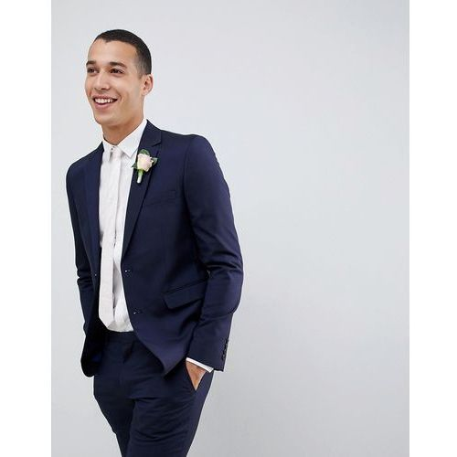 wedding skinny fit suit jacket in navy - blue, Burton menswear