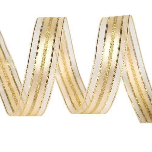 Złota wstążka monofilowa z lureksem 15mm/1m - zło marki Creativehobby